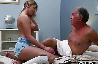 Blonde russian Teen Fucked By Hairy Old Man she loves getting sex blowjobs and cum