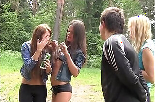 Extreme college porn threesome outdoors
