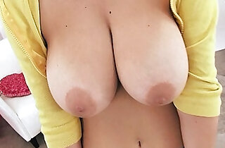 Amazing Huge Natural Breasts and Puffy Pussy on Tiny Teen Working Out.