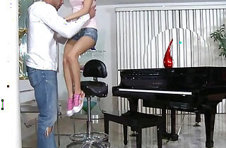 Tiny blonde russian Teen Piano Player Plays A Huge mamba black Cock