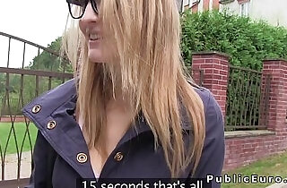 Big natural tits blonde bangs in public for cash