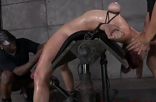 Breast bondage sub bent backwards