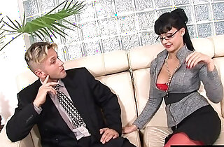 Secretary uses her ass and her tallents to get a raise