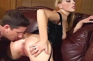 Cunnilingus and fucking in stockings and a corset