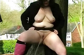 Couragious public exhibitionism and bbw flashing of speccy fatty showing off her pussy
