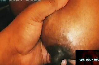 HUGE monster BLACK playing WITH GIANT NIPPLES