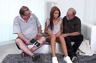 Old Goes Young Sofia Like to fuck with two old guys