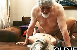 Old and Young amateur Teen slut gets Fucked by Old man tight pussy licking