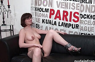 Pretty amateur brunette with big tits hard style banged for her porn casting couch