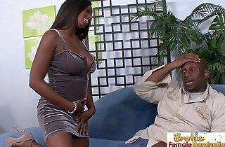 Curvy slut sucks and fucks her horny daddy on the couch