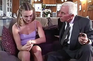 Young blonde girl cunt fucked by old couple