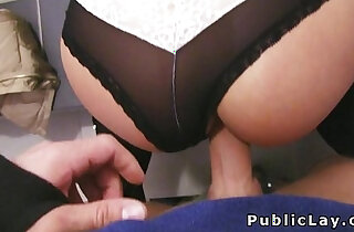 Euro babe masturbating with their sexy glasses banged in public pov