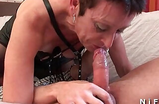 French mature stockings deep in her throat fucking hard style banged