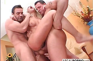 penetrated - Two guys with cocks fuck two horny lesbian babes HC